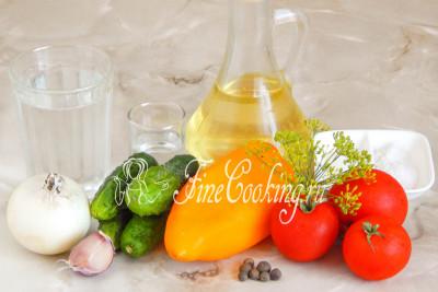 Калорийность салата помидор огурец перец