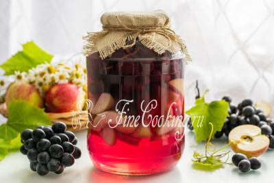 Яблочно виноградный компот на зиму
