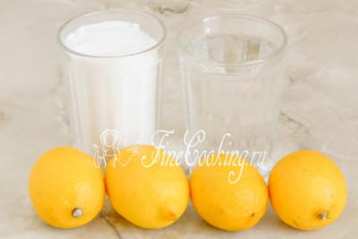 Готовить лимонный сорбет мы будем из лимонов, воды и сахара