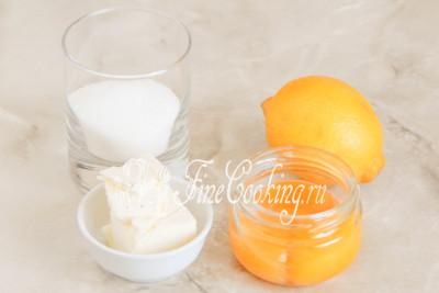 В рецепт лимонного курда входят следующие ингредиенты: сок и цедра лимона, сахарный песок, сливочное масло и яичные желтки
