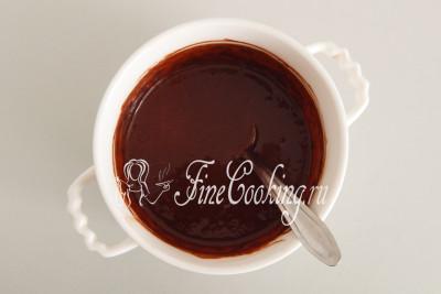 Прогреваем содержимое до горячего состояния, помешивая, чтобы получилась однородная шоколадная глазурь