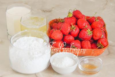 Для приготовления этого простого, вкусного и легкого летнего тортика возьмем яичные белки, сахарную пудру, жирные сливки, кукурузный крахмал, винный уксус и много свежей клубники