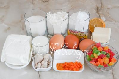 Шаг 1. Для приготовления пасхальных куличей нам понадобятся такие продукты, как: мука пшеничная (высшего сорта), творог, молоко, свежие (прессованные) дрожжи, сливочное масло, сахарный песок и сахарная пудра, куриные яйца, цукаты, сок лимона, соль, куркума, апельсиновая цедра и щепотка ванилина