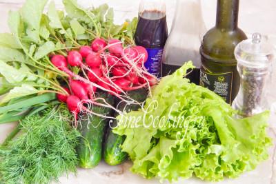 В рецепт этого овощного салата быстрого приготовления входят такие ингредиенты, как: свежий зеленый салат, огурцы, редиска, перьевой зеленый лук и свежий укроп