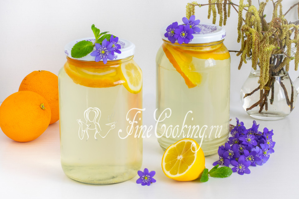 Березовый сок с апельсином и лимоном на зиму