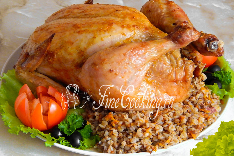 курица целая с гречкой в духовке рецепт с фото