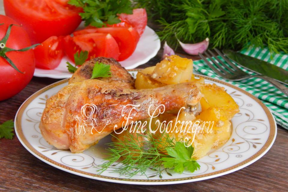 курица на части в духовке с картошкой рецепт