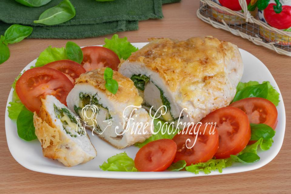 Куриная грудка с сыром и шпинатом