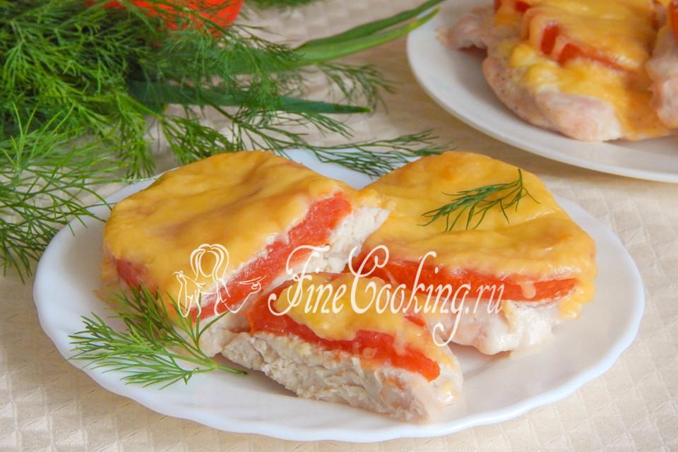 куриное филе в духовке под сыром и помидорами