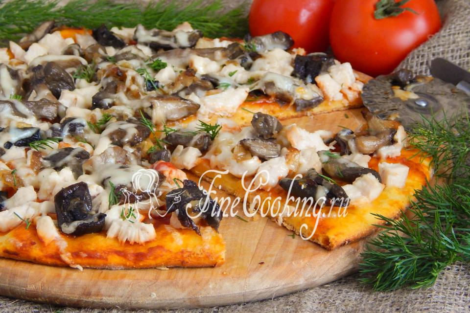 Рецепт пиццы с курой и грибами