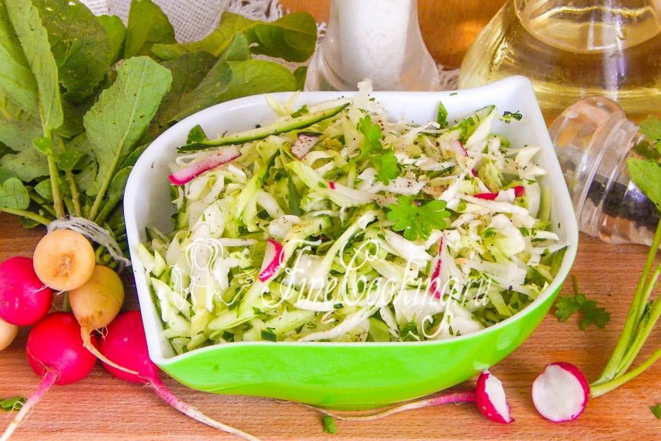 Калорийность салат овощной с капустой с маслом