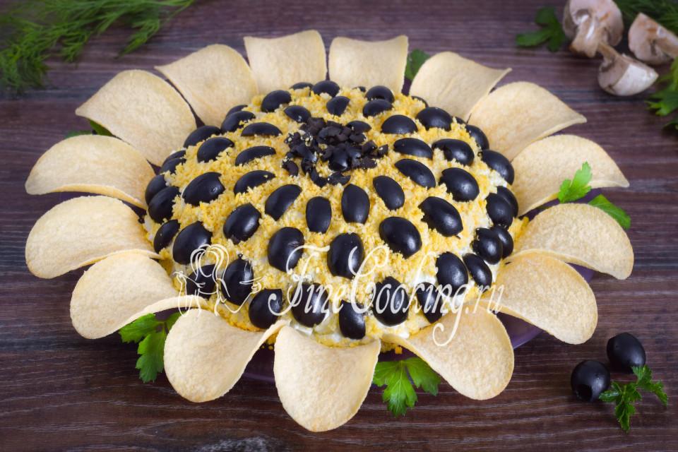 салат подсолнух рецепты с фото с маринованным луком