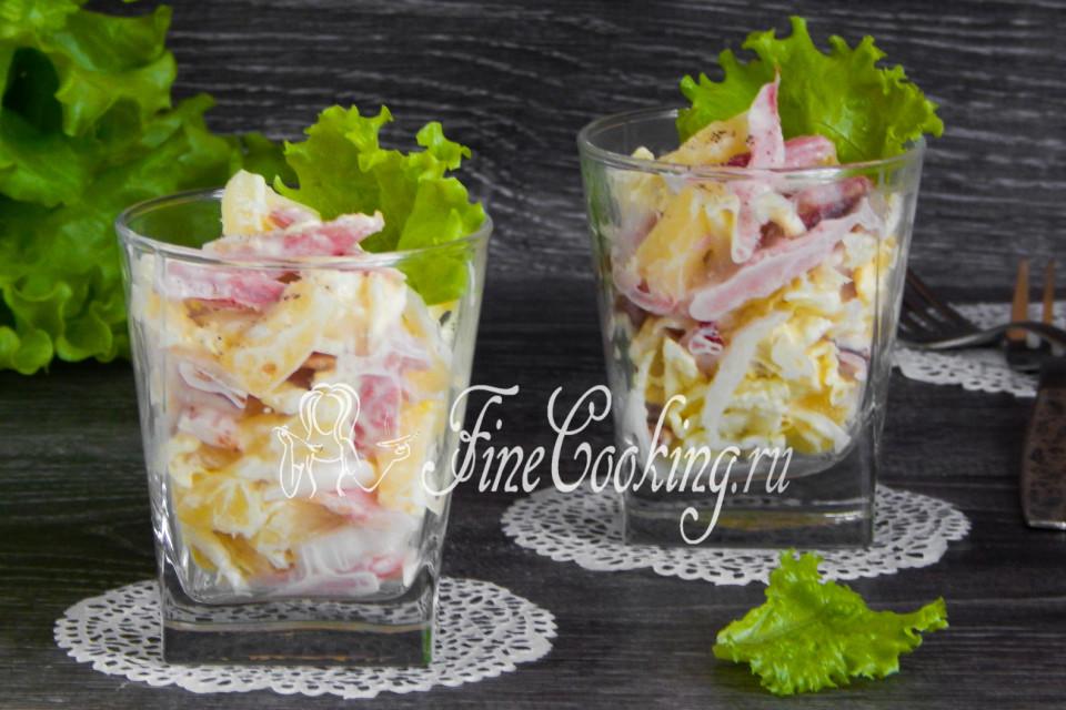 Рецепт салата из пекинской капусты и копченой курицы с ананасами