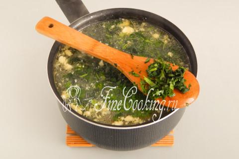 Суп с крапивой и яйцом. Шаг 12