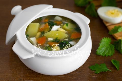 Суп с крапивой и яйцом. Шаг 14