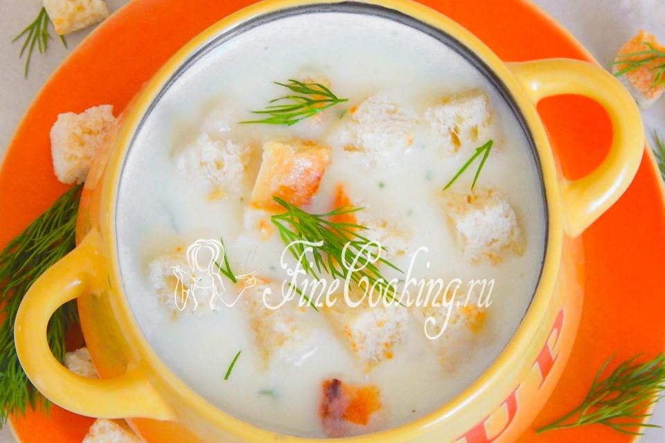 Сырный суп-пюре с гренками