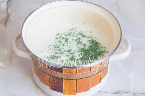 Сырный суп-пюре с гренками. Шаг 8