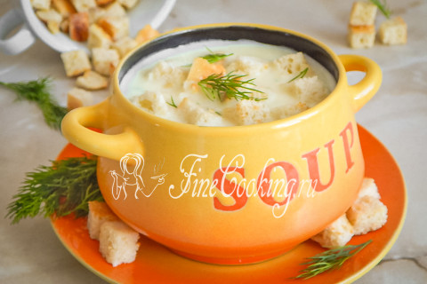 Сырный суп-пюре с гренками. Шаг 9
