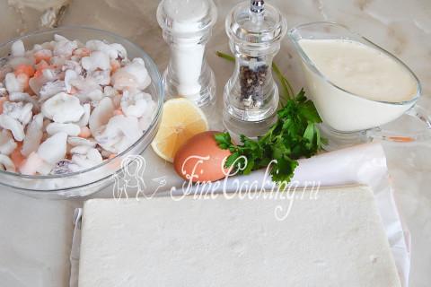 Волованы с морепродуктами. Шаг 1